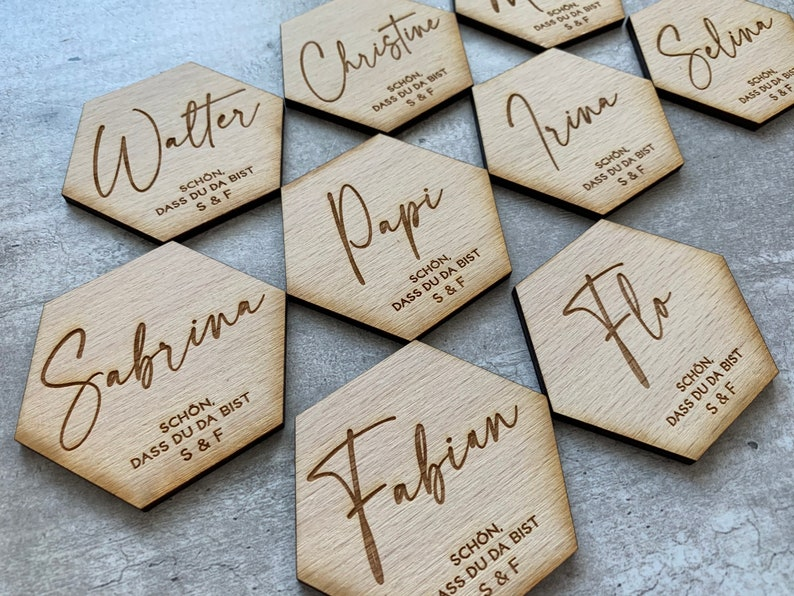 Place name settings Laser cut wood signs Decoration wedding wood decor Guest names Wedding place cards Custom Lasercut name wedding