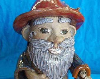 Stoneware Gnome with Cane and Feather