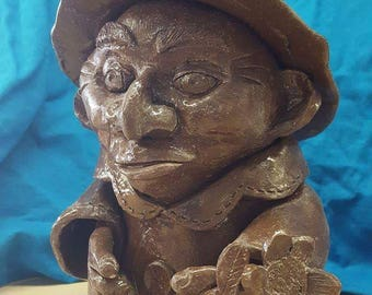 Stoneware Gnome with Flower