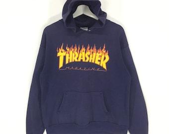 97b2232d49e5 Rare!!Thrasher magazine spell out big logo vintage hoodies sweatshirt/thrasher  skate/made in usa