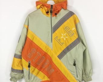 Rare!!Descente E.G Storm vintage 90s colorblock hoody jacket/hip hop swag/retro fashion