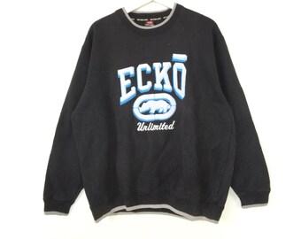55380cc3f0b9d Ecko unltd spell out embroidered big logo sweatshirt hip hop swag rap tee