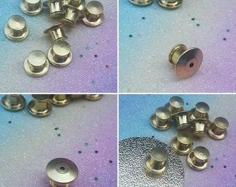 2c515252560 Gold Locking Pin Backs - Set of 10 - Locking Backs, Secure Pin Back, Enamel Pin  Back, Enamel Pin, Lapel Pin, Brooch Pin, Enamel Pins
