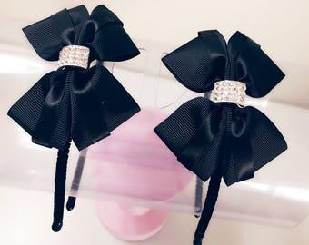Baby girl Black Headbands with Golden Details Handmade