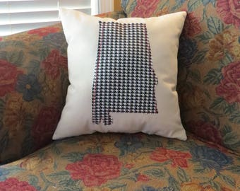 Alabama Houndstooth Beige Canvas Throw Pillow