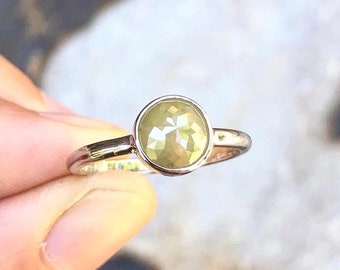 Chartreuse Diamond Solitaire Ring