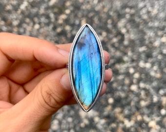 Labradorite Marquis Ring