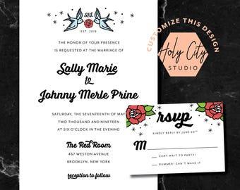 ROSE TATTOO INVITATION / Tattoo Wedding Invitation /  Punk Wedding Invitation / Custom Wedding Invitation / Nautical Wedding Invitation