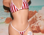 Red White Vertical Striped with White Trim Medium Coverage Top Medium Coverage Front Y Back Thong 2 Piece Micro Bikini Set