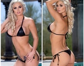 Faux Leather Plether Black with Black Trim Medium Coverage Top Scrunch Butt 2 Piece Micro String Bikini Set One Size
