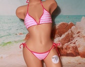 Baby Pink and White Striped with Hot Pink Trim Full Coverage Top Full Coverage Scrunch Butt 2 Piece Micro String Bikini Set One Size