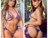 Holographic Purple with Purple Trim Micro Coverage Top Medium Coverage Front Scrunch Butt Bottom 2 Piece Micro String Bikini Set One Size
