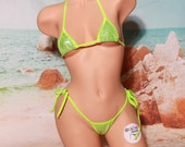 Shattered Holographic Neon Green w Neon Green Trim Micro Coverage Top Med Cov Front Scrunch Butt 2 Piece Micro String Bikini Set One Size