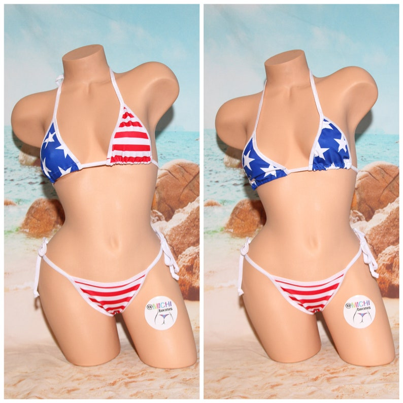 f84b8a71647 Stars and Stripes with White Trim Medium Coverage Top Scrunch   Etsy