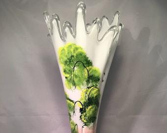 Acrylic hand painted glass vase