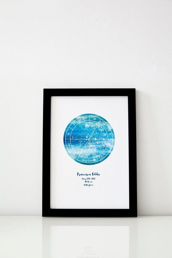 Aquarius Astrology Star Map Framed Option Natal Chart