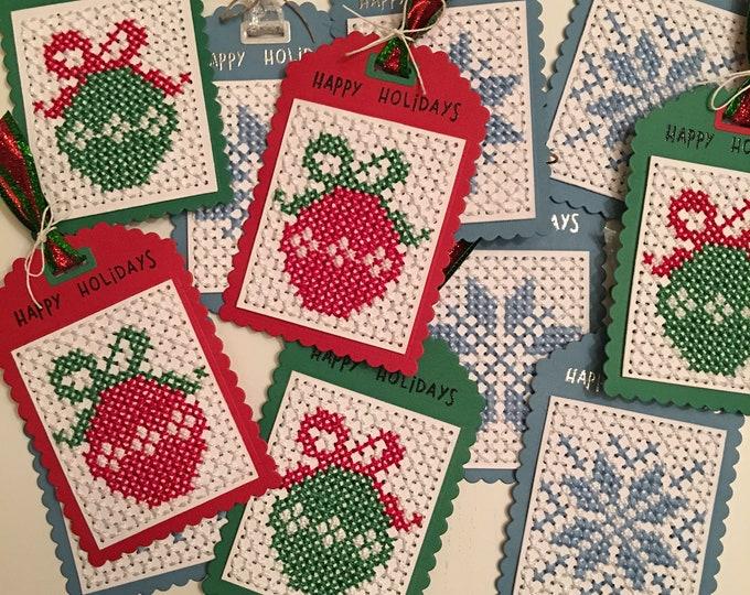 Cross stitched tags Gift embelishments Snowflake tag - Christmas tags cross stitch Big Christmas tags Handmade Christmas tags