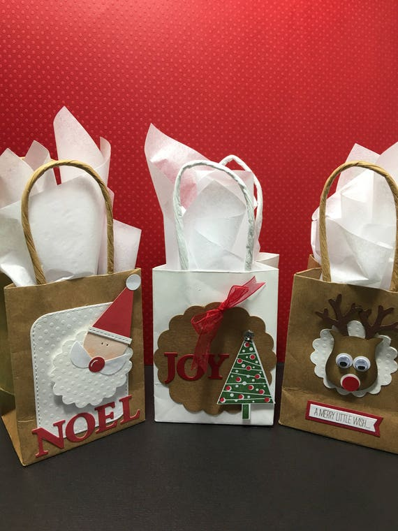 Christmas Mini Paper gift bags Mini paper bags for Christmas | Etsy