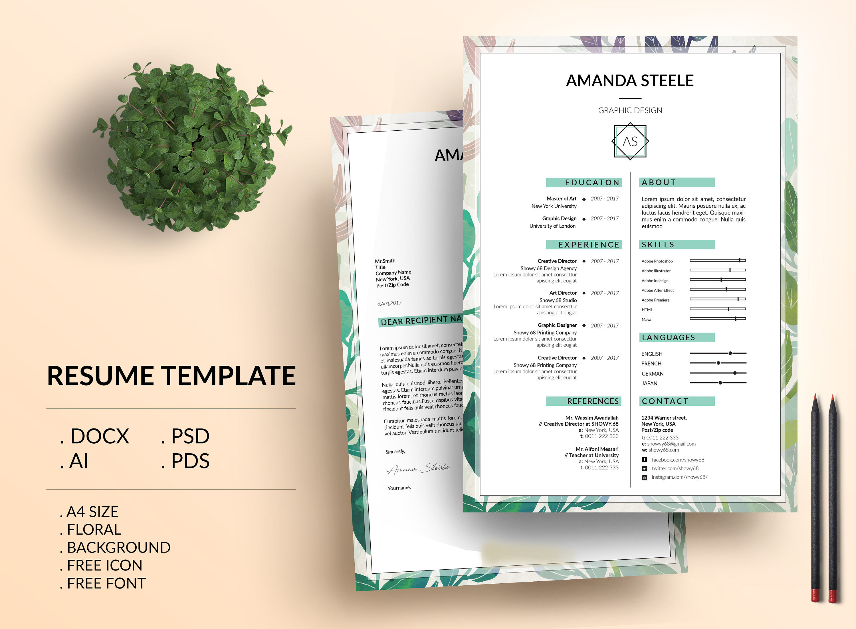 sale 20  off    floral resume template    cv template