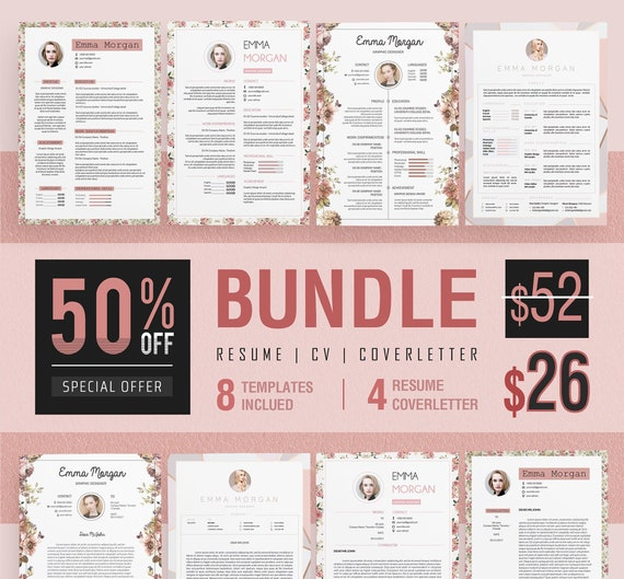 50/% Off Pink Floral Resume BUNDLE of 4 Resume Template  CV Template  4 Free Coverletter Template  M SALE !