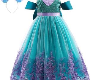 Girls Mermaid Princess Dress with Headband Mermaid Birthday Dress up