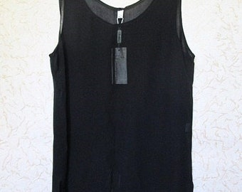 c2292db6aab259 Black Sheer Tank Top Long Viscose Sleeveless Blouse Black Sheer Tunic  Vintage 90s Summer Tunic Transparent Blouse Evening Top XXL Size 14