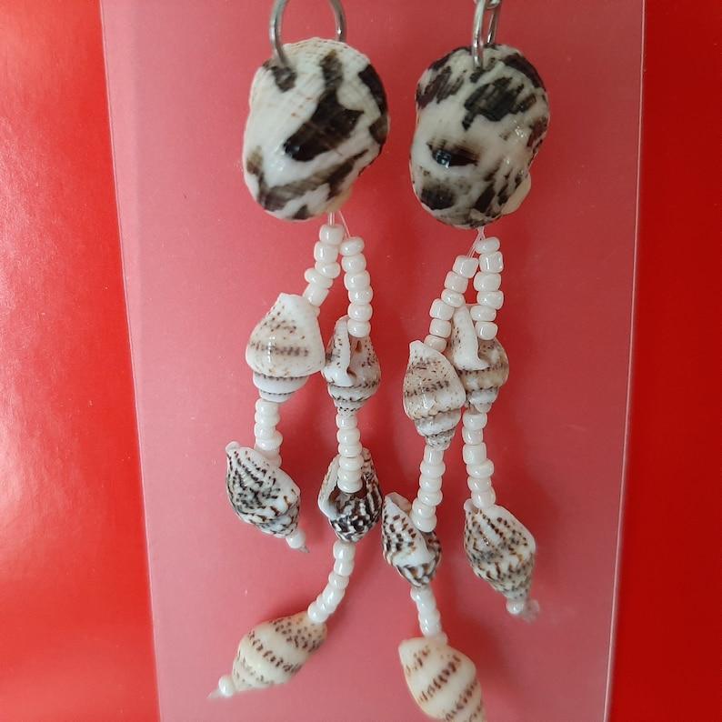 Long Earrings Dangle  Seashell Hanging Earrings  Drop Conch Earrings  Beach Summer Jewelry  Vintage 90s Hippie