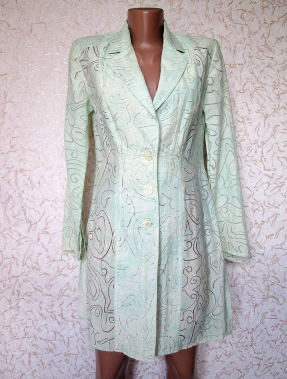 10 US Mint green Long Blouse Caftan Long Sleeve Su