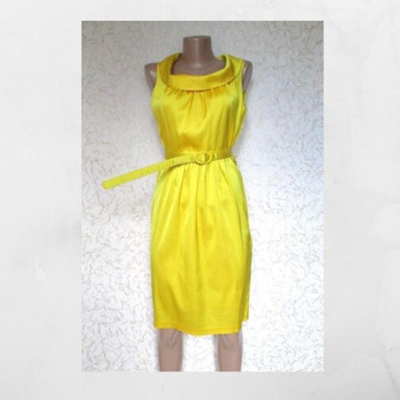 M Size Bright Yellow Sleeveless Pencil Dress
