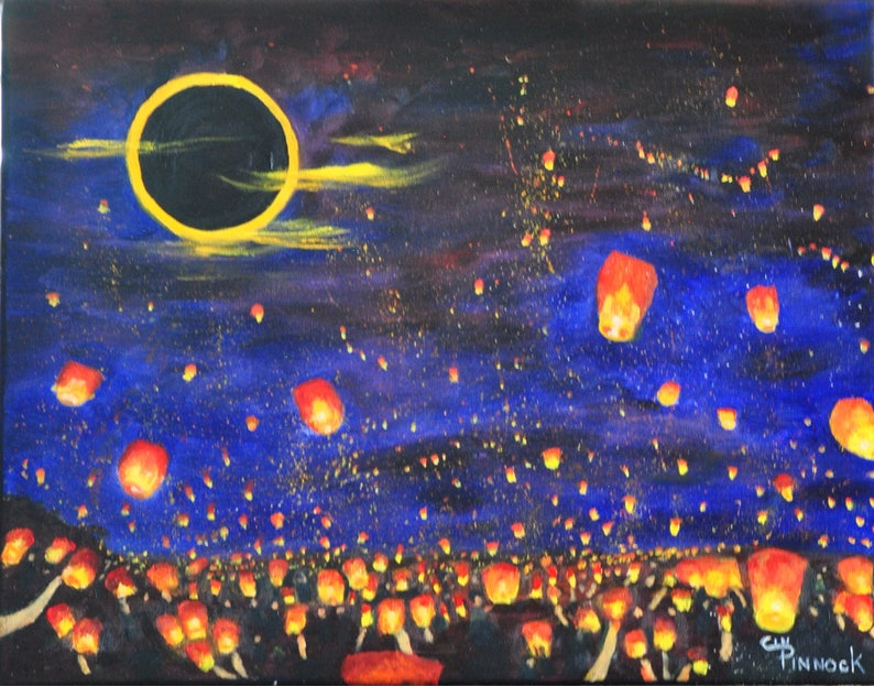 Sky Lanterns For Sale >> Chinese Sky Lanterns Tangled Floating Lights Sky Lantern Art Sky Lantern Festival Floating Lantern Art Sky Lantern Original Painting Oil