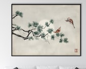 Japanese Pine Tree and Sparrows Print, Oriental Landscape Ink Watercolor Sumi E Art Minimal Zen Feng Shui Wall Decor Gift Her him Horizontal