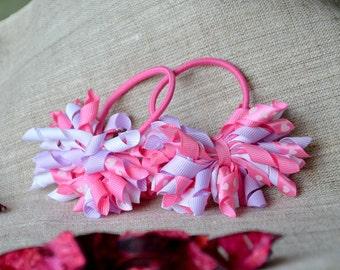 Korker bows for Girls Korker hair bobbles Curled korker hair  elastic Birthday ponytail streamers Valentine s day korker bobbles Pink  bobbles ce2b9372487