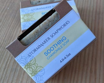 Soothing, All Natural Chamomile Bar Soap, Herbal Bath Bar, Vegan