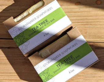All Natural Tea Tree Shampoo and Body Bar, Herbal Bath Bar, Soothing, Moisture Loving, Palm Free