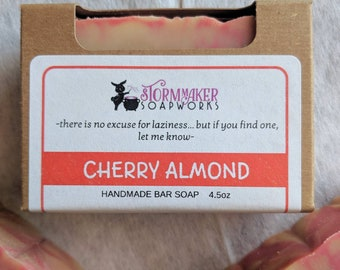 Cherry Almond, Palm Free, Vegan Handmade Soap