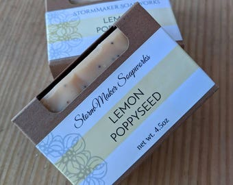 All Natural Lemon Poppy Seed Bar Soap, Handmade Soap