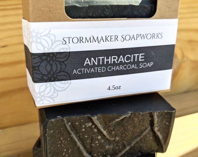Featured listing image: Anthracite, Activated Charcoal, All Natual Bar Soap, Acne Soap