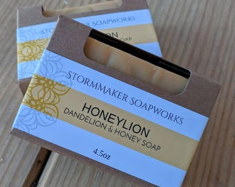 Honeylion, All Natural Dandelion & Honey Soap, Herbal Bath Bar, Soothing