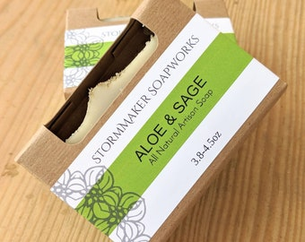 Aloe & Sage All Natural, Handmade Artisan Soap, Palm Free, Vegan