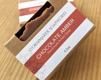 Chocolate Amber Artisan Soap, Handmade Soap, Vegan