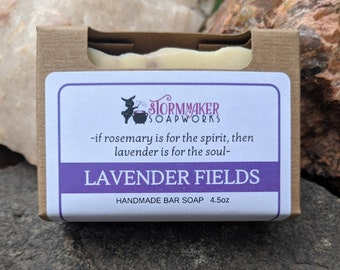 Lavender Fields,  Natural Bath Bar, Soothing, Palm Free, Vegan Handmade Soap