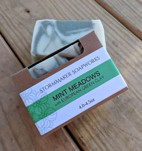Mint Meadows Bath Bar, All Natural Soap, Soothing, Moisture Loving, Palm Free