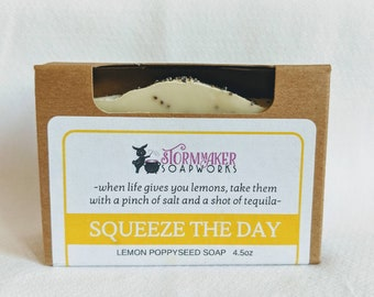 Squeeze The Day, Lemon Poppy Seed Bar Soap, Palm Free, Vegan