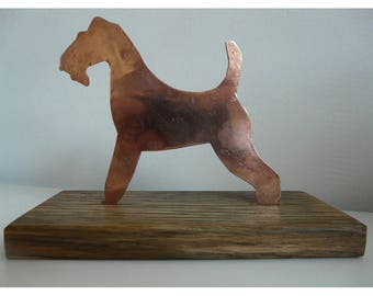 Wire Fox Terrier, in Copper on Oak Base