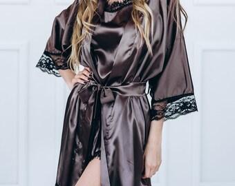 Women Lingerie, Women Underwear, Women Robe, Satin Robe, Silky Robe, Bronze Robe, Women Kimono, Silky Kimono,