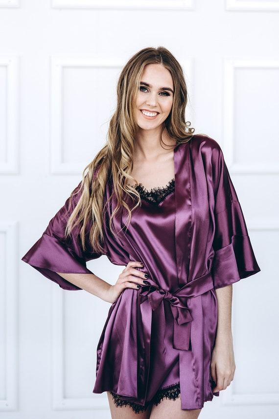Robe Robe Robe Pink Monogrammed Purple Personalized Purple Robe Women Robe Satn Robe Robe Kimono Satin Satin Kimono Purple OwTtRqw