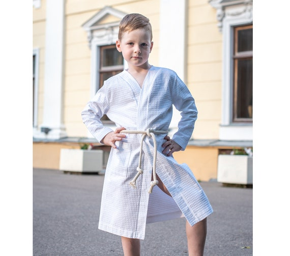Kids robe White boys bathrobe Toddler robe Dressing gown | Etsy