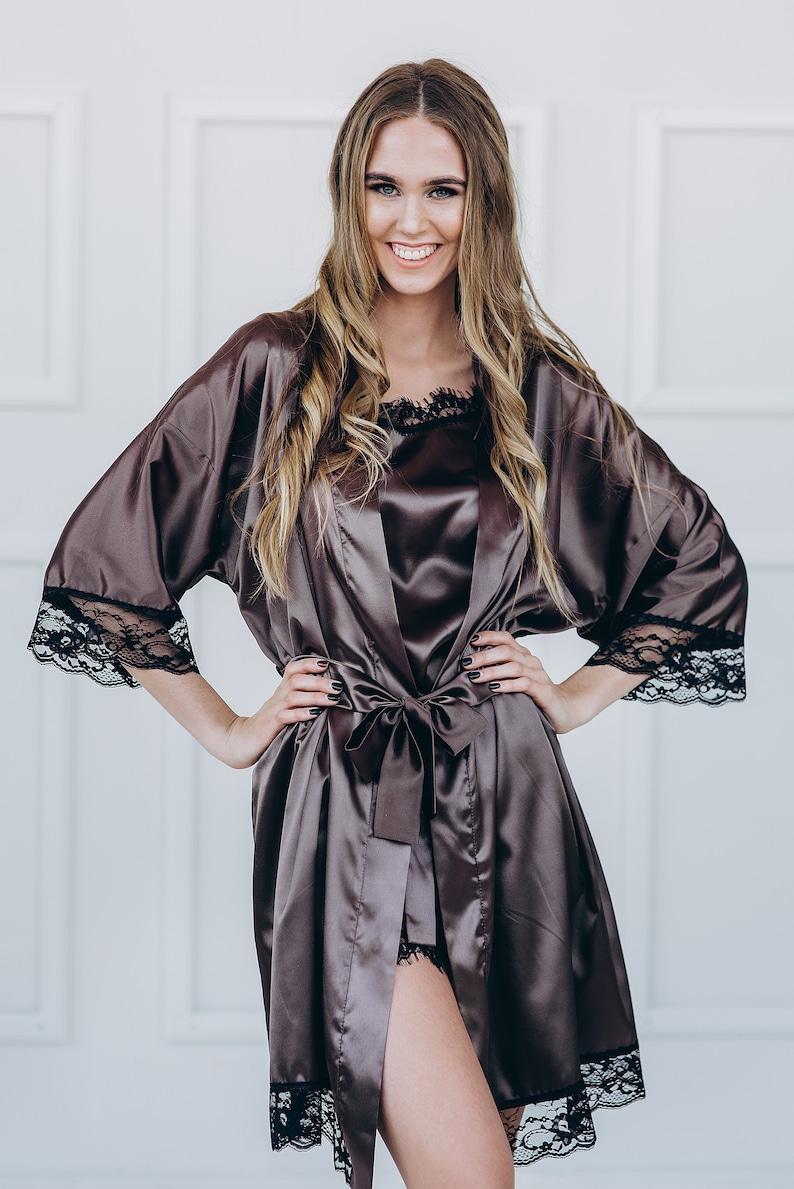 high quality satin robe women satin lingerie satin kimono robe Women silky kimono personalized women kimono
