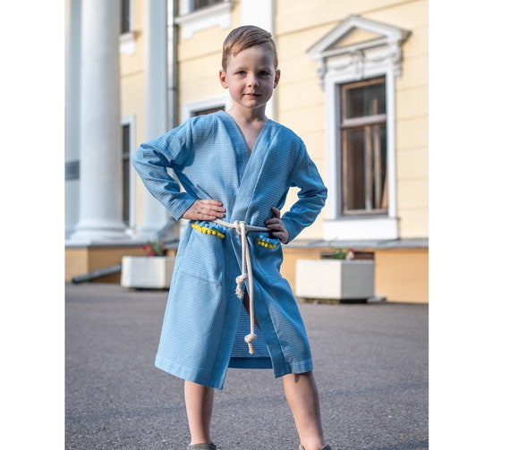 Kids robe Toddler robe Blue boys bathrobe Dressing gown | Etsy