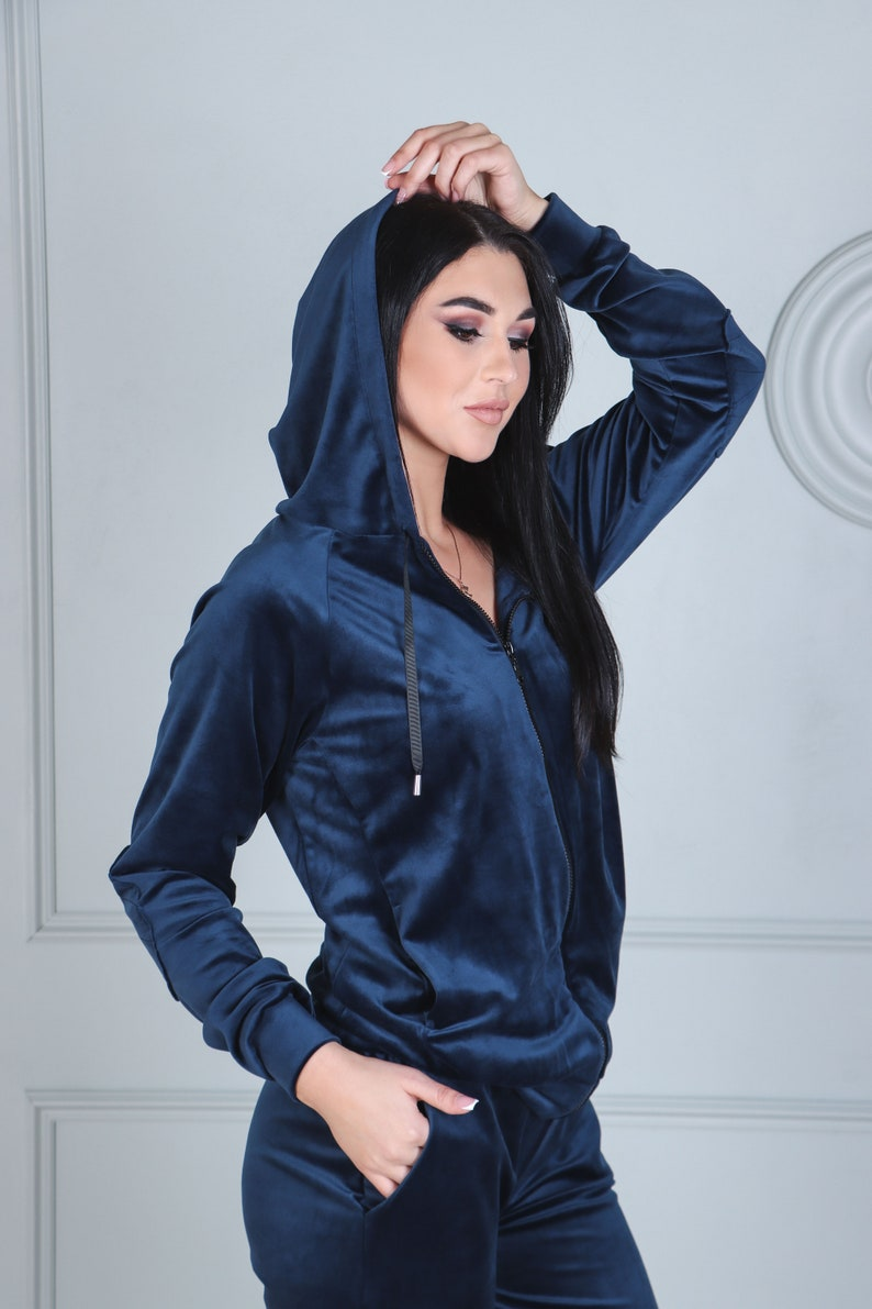 Velvet tracksuit Blue velour zip up hoodie and jogger pants set Lounge set Two peace matching set for women